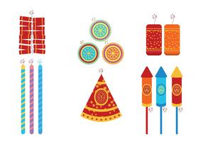 Diwali fire crackers vector set