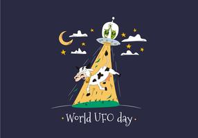 World UFO Day With Aliens Abducting Cow Vector