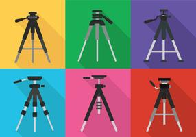 Camera tripod icon vector set