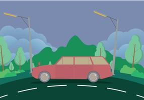 Old Station Wagon With Mountains Illustration
