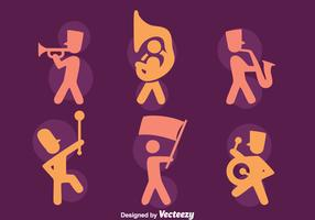 Silhouette Marching Band Icons Vectors