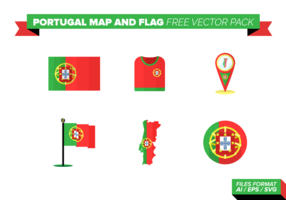 Portugal Map and Flag Free Vector Pack