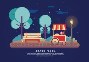 Nighttime Candy Floss Food Cart Vector Illustration