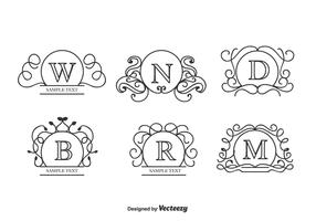 Curly Monograms Vector Set