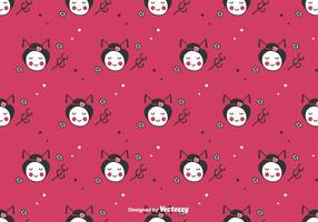 Doodle Geisha Vector Background