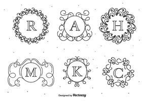 Hand Drawn Monograms Vector Set