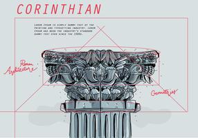 Corinthian Architectural Blueprint Sketch Vector
