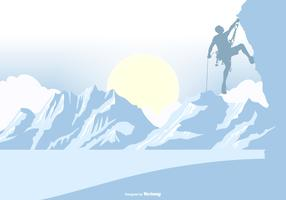 Mountain Climber Silhouette on a Landscape Background