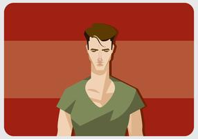 Cool Man With V-Neck Shirt Vector