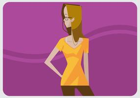 Cute Glasses Girl With V-Neck Vector