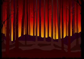 Burning Forest Background Free Vector