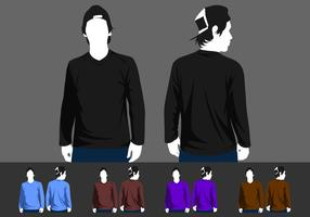 V-Neck Long Sleeve Model Free Vector