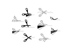 Free Scissors Icon With Cutting Line Vector