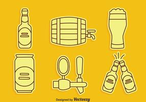 Beer Element Line Icons Vectors
