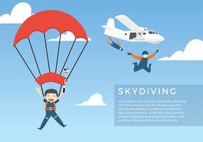 Skydiving Cartoon Free Vector