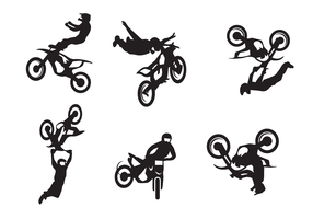 Motorcross Freestyle Silhouette Vector