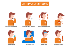 Asthma Symptoms Infograpic Vector