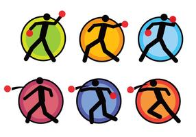 Dodge ball pictogram icon set