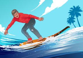 Surfing Man Vector