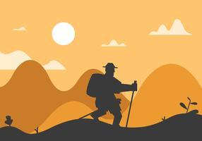 Nordic walking guy illustration