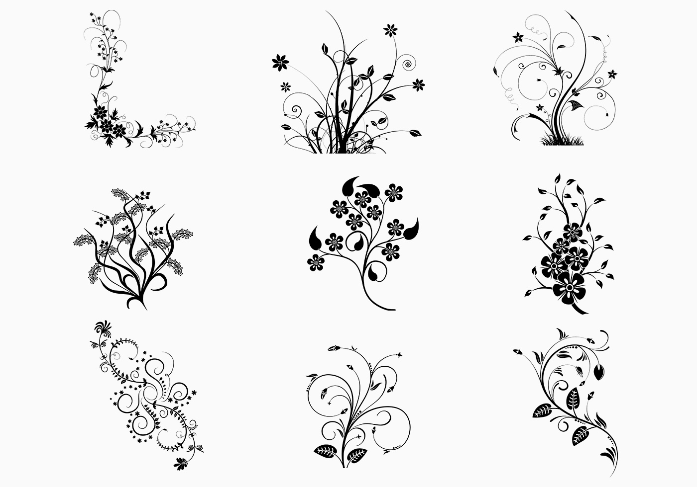 Floral-swirls-vector-pack