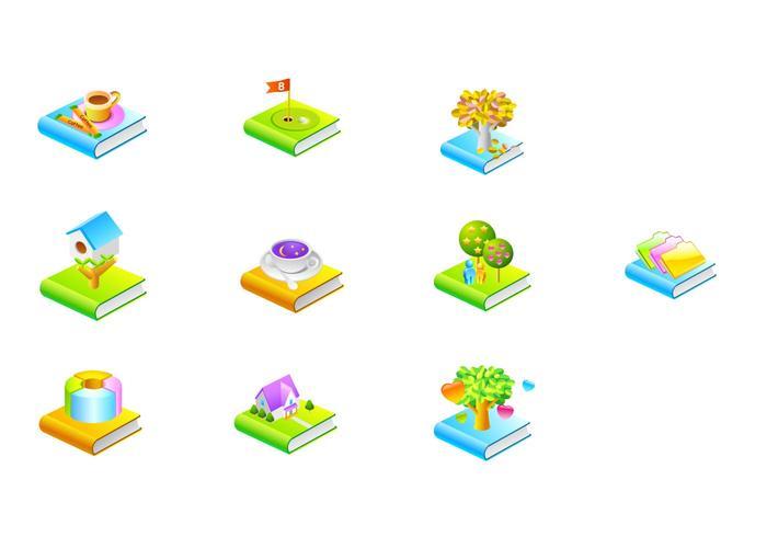 Vários vetores de ícones do livro