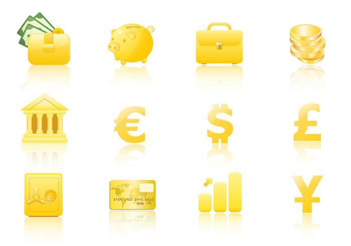 Gold Geld Icon Vektor Pack