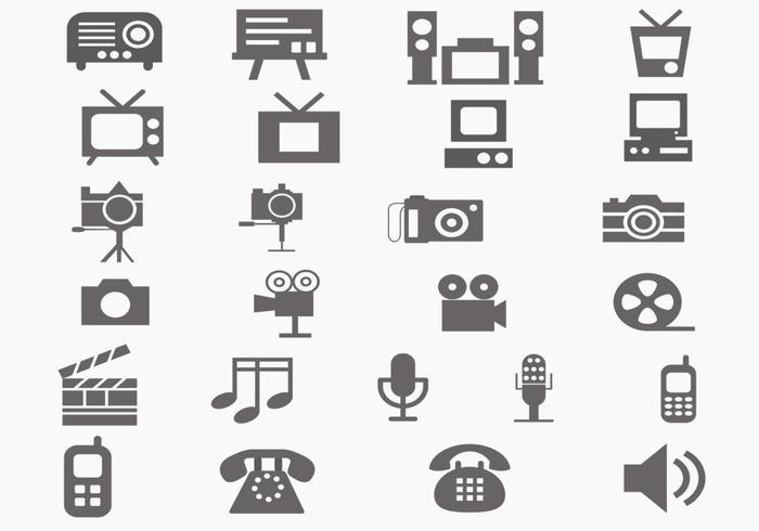 Multi media vector icon pack