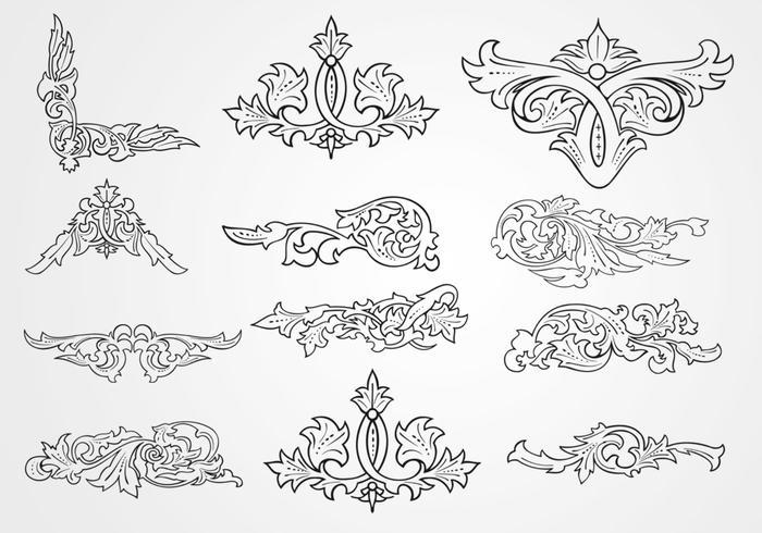 Decorative Floral Outlined Ornament Vectors