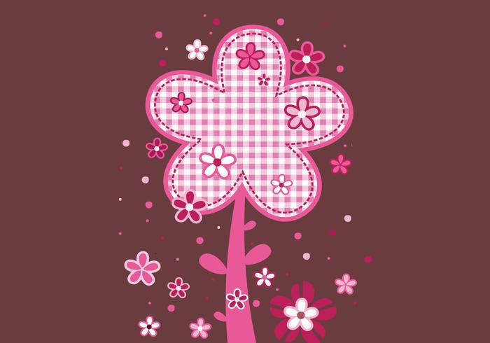 Pink Plaid Floral Background Vector Pack