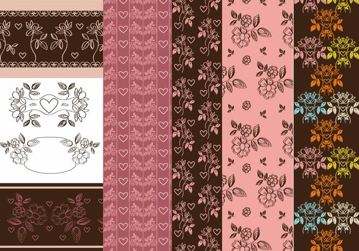 Vintage Heart and Flower Patterns & Vector Pack
