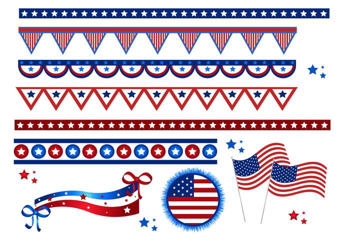 4th of July Flags and Borders Vector Pack