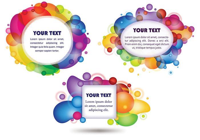 Pacote de vetores colorido da etiqueta da bolha