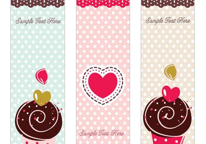 Sweet Retro Cupcake Banner Vector Set