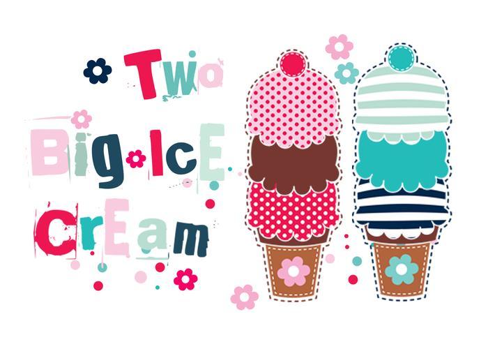 Two Big Ice Cream Cones Vector Pack