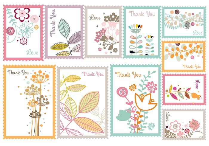 Vintage Floral Stamp Vector Pack