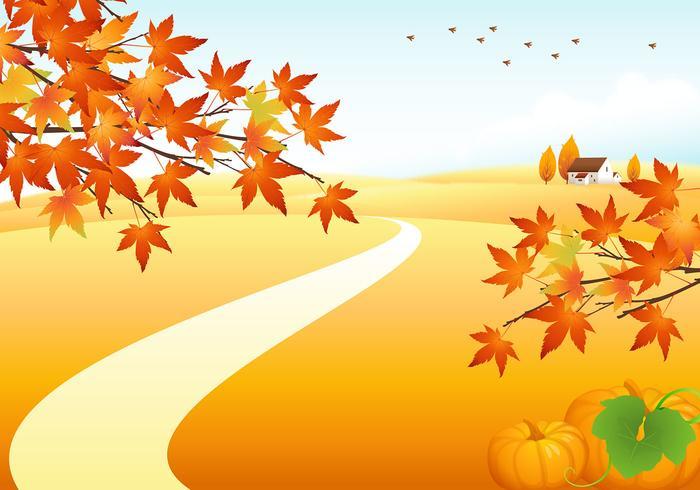 Autumn Landscape Vector Background