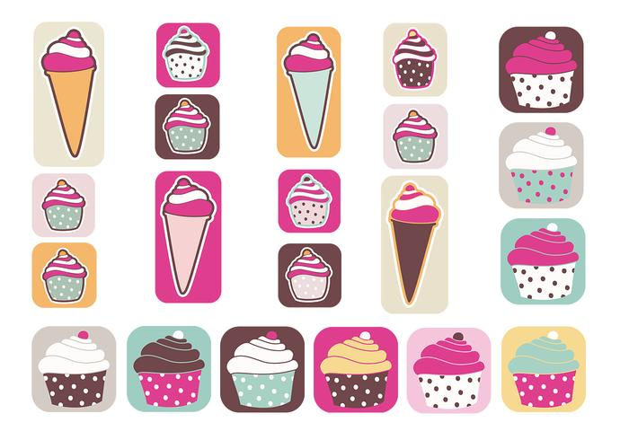 Cupcakes e Ice Cream Vector Pack