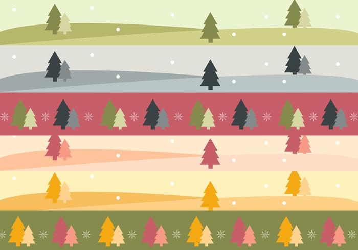 Christmas Tree Landscape Banner Vector Pack