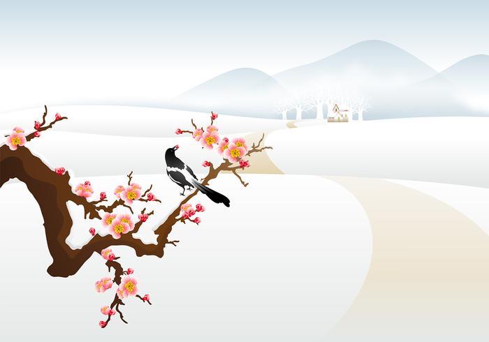 Winter Landscape Vector Wallpaper