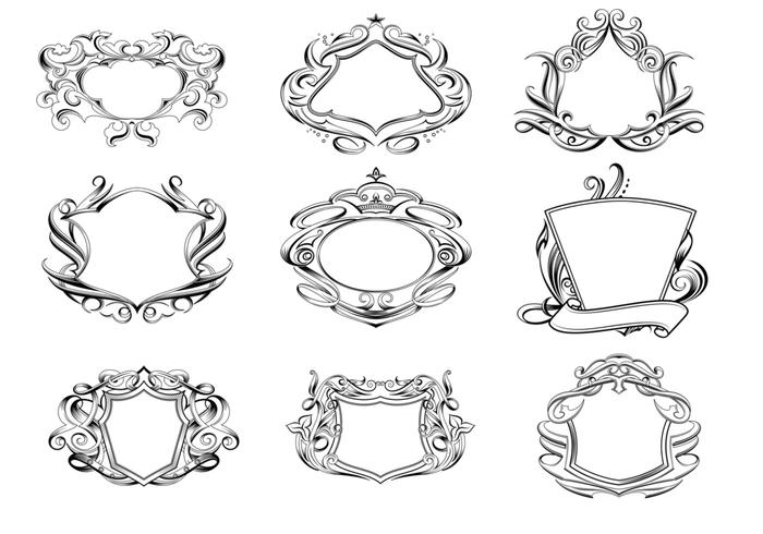 Hand-drawn Etched Shields Vector Pack