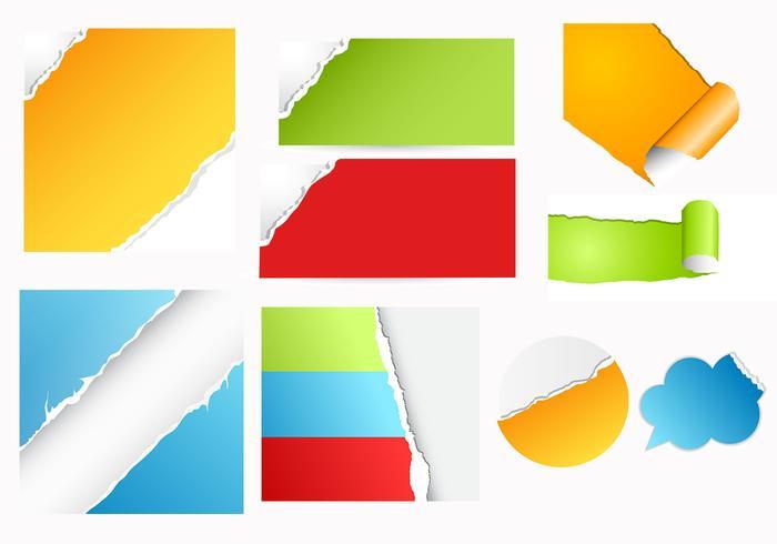 Kleurrijke Gescheurd Papier Vector Pack