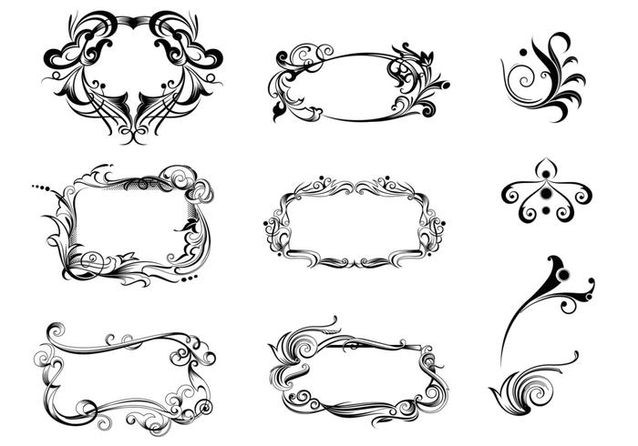 Paquete decorativo del vector del ornamento