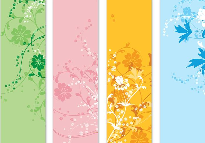 Four Floral Banner Vector Pack