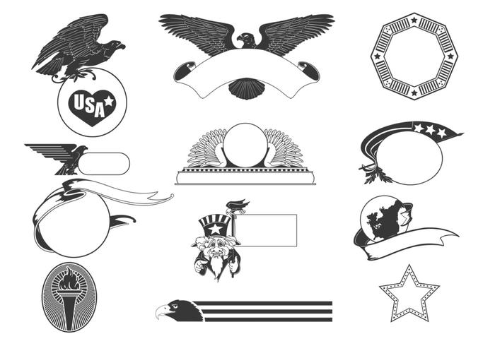 Patriotic USA Label Vector Pack