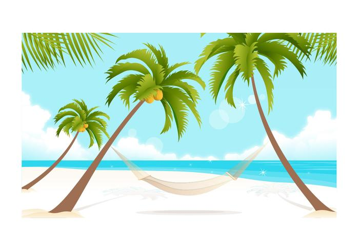 Beach and Palm Trees Vector Wallpaper