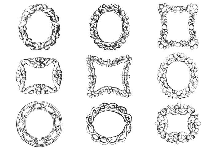 antique engraved frame vector pack