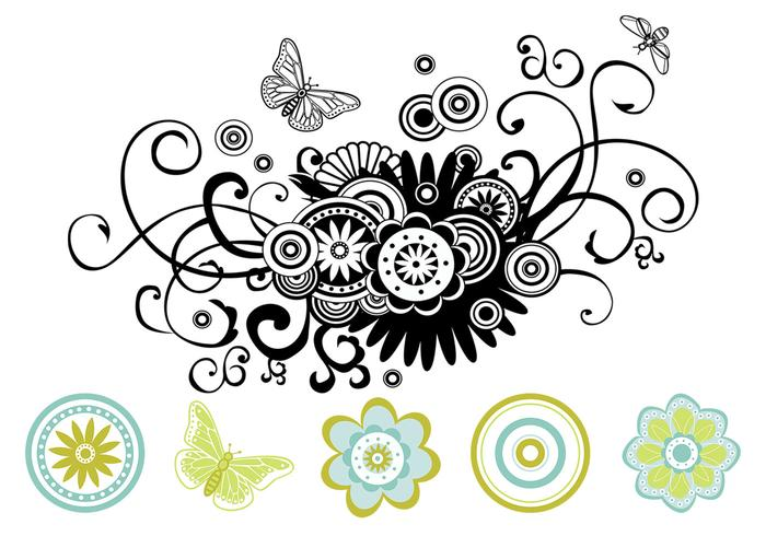 floral swirls vector pack download free vector art stock graphics images. Black Bedroom Furniture Sets. Home Design Ideas