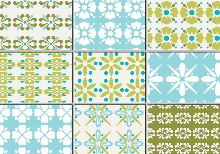 Nine Retro Floral Vector Patterns