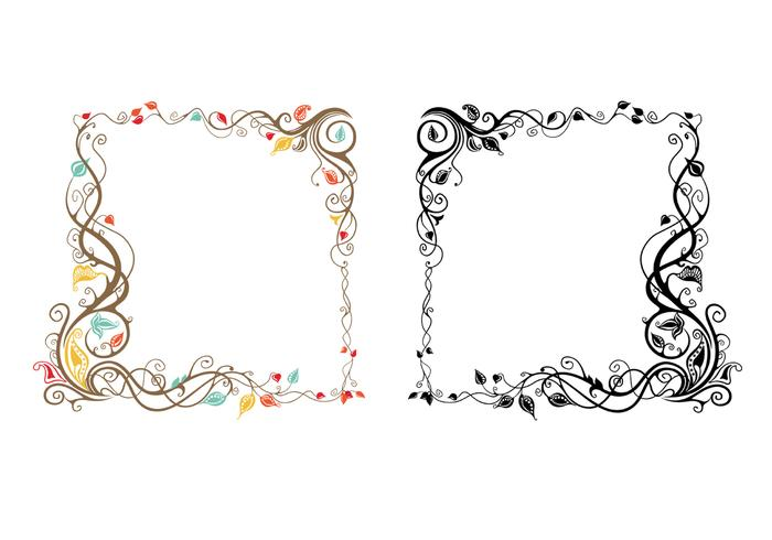 Leaves and Swirls Frame Vector Pack